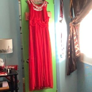 Red gown with silver beading